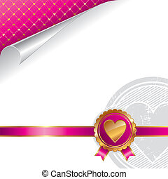 Valentines luxury vector design with golden seal heart