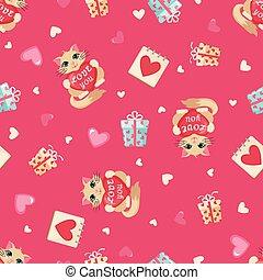 valentines, motívum, Nap,  seamless