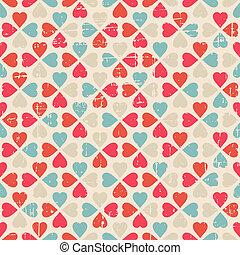valentine's, motívum, seamless, nap, vektor, retro, style.