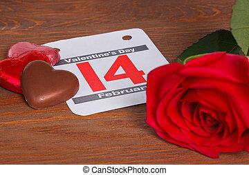 valentines nap, dátum, noha, piros rózsa, és, csokoládé