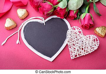 valentines nap, háttér, noha, piros, és, roses.