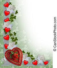 valentines nap, határ, piros, és, gyeplő