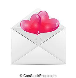 valentines nap, kártya, noha, szív alakzat, léggömb, vektor, illustration.