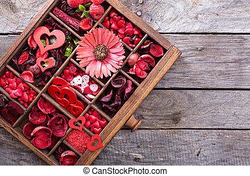 valentines nap, kevés, ruhanemű, alatt, egy, doboz
