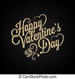 valentines nap, szüret, felirat, arany- háttér