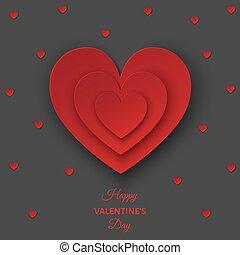 valentines nap, szürke háttér, noha, piros, elvág papír, hearts.