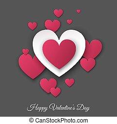 valentines nap, szürke háttér, noha, rózsaszínű, és, fehér, hearts.