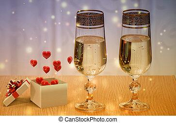 valentines nap, tehetség, és, pezsgő.