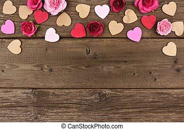 valentines nap, tető, határ, közül, piros, és, agancsrózsák, ellen, falusias, erdő