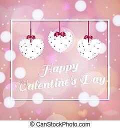 valentines nap, vektor, szeret, illustration., tervezés, boldog, felett, háttér, rózsaszínű
