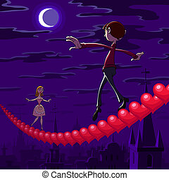 At Valentine's night a balancing boy and girl goes toward each other on row of red hearts hanging over the town.