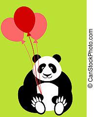 valentines, ours, jour, tenue, ballons, panda, heureux