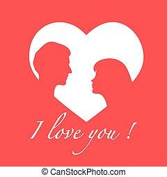 valentines, paar, love., gruß, tag, karte