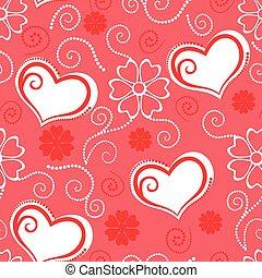 valentines, padrão, seamless, com, corações, e, flores