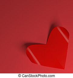valentines, papel, vermelho, corações, Dia, cartão