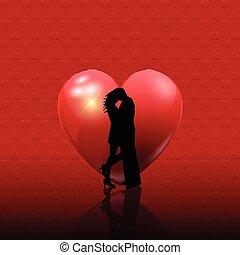 valentines, pareja, en, corazón, plano de fondo, 2101
