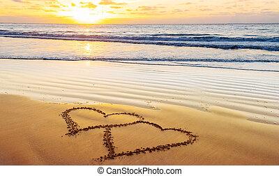 valentines, plage, jour