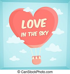 Valentines poster with hot air balloon in sky