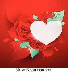 valentine's, rózsa, háttér, nap, piros, boldog