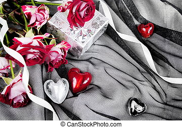 Valentine's Red and White Hearts over Black