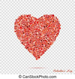 Valentines red heart shape with many dots. Vector illustration love symbol eps10