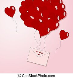 Valentines red hearts balloon with envelope, postcard on pink background. Love symbols in shape of heart for Happy Valentine's Day, Wedding. Engagement card vector flat illustration