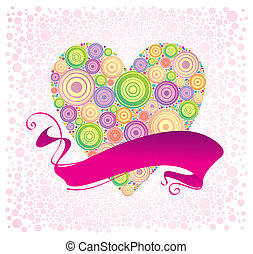 Valentines & ribbon, vector illustration