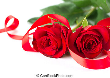 Valentines Rose Flower with Ribbon isolated on white...