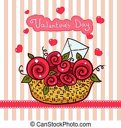 valentines, rozen, mand, bloemen, dag, rood