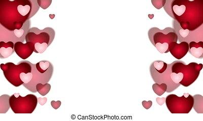 valentines, rue, animation, vidéo, cœurs, jour, rouges