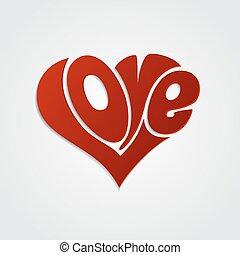 valentines, scheda, con, lettering., amore, calligrafia