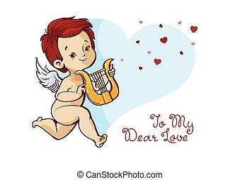 valentines, scritto mano, cupido, giocando musica, divertimento, messaggio, arpa, giorno, quotazione