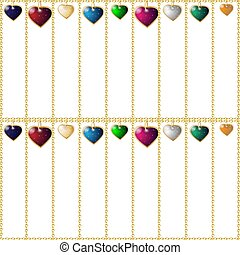 Valentines seamless background. Colorful heart pendants. Chain cages