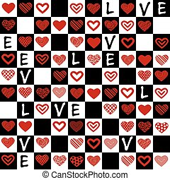 Valentine's seamless pattern with h