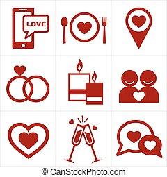 valentines, set, pictogram