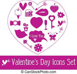 valentine\'s, set., vettore, giorno, icona