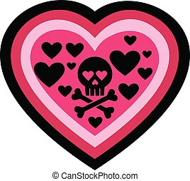 valentines skull with heart