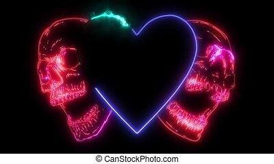 valentines skull with heart, grunge vintage laser animation