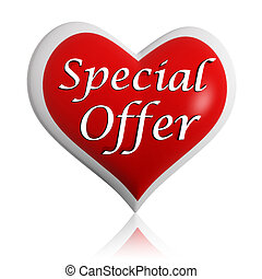 valentines day special offer 3d red heart banner with white text, seasonal business concept