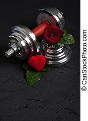 valentines, sports, fond, à, haltère, rose, et, coeur, box.