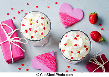 Valentines Strawberry banana milkshake with whipped cream