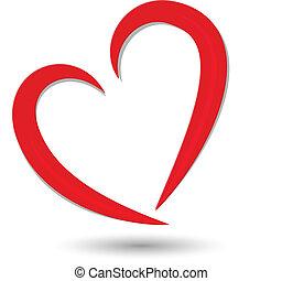 Valentines Symbol - Stylized red heart symbol logo