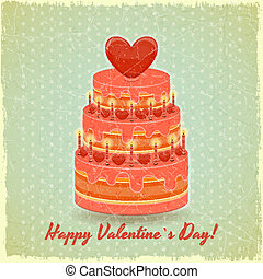 valentines, taart, op, ouderwetse , achtergrond