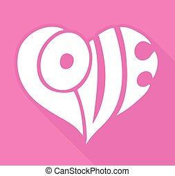 valentines, tarjeta, con, amor, lettering.