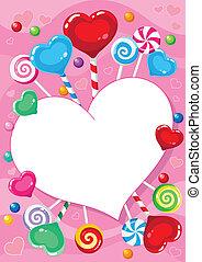 valentines, tarjeta, con, dulce