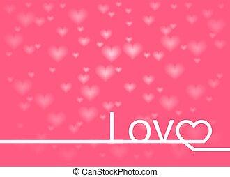 valentines, tarjeta, con, línea, adore corazón, letras, plano de fondo, vector