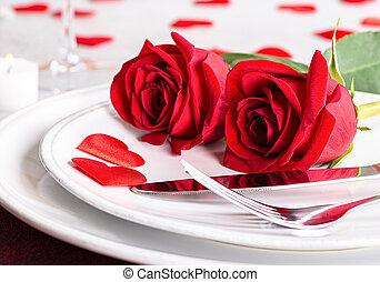 valentines, tavola, rose rosse, regolazione