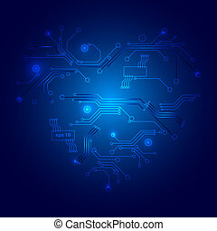 Valentines technology heart. Abstract background. Vector illustration