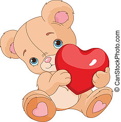 Valentines Teddy Bear holding love heart