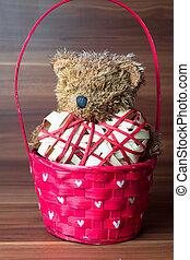 Valentines teddy bear in the basket